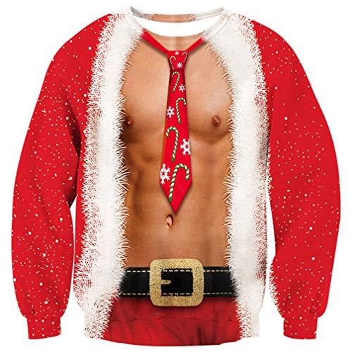 ALISISTER Hässliche Weihnachtspullover Cool Muskel Grafik Fake 2 Stück Rot Weihnachts Pullover Jumper Sweatshirt Festival Idee Geschenk Pullis für Vater Bruder XL