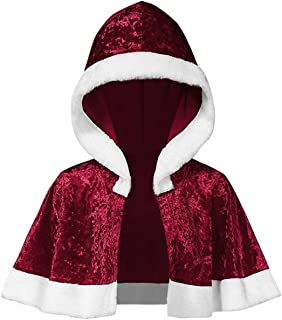 LENXH Women's Long Sleeve Hooded Cloak Christmas Velvet Top Simple Fashion Cloak Casual Holiday Decoration