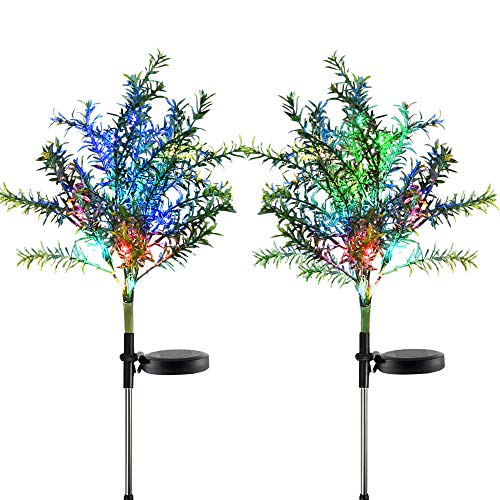 Idefair Solar Garden Lights Tree Outdoor Multi-Color Changing LED Stake Lights Flower for Garden, Patio, Yard and Decoration Solar Flickering Tree Lights (Tree,2 Pack)