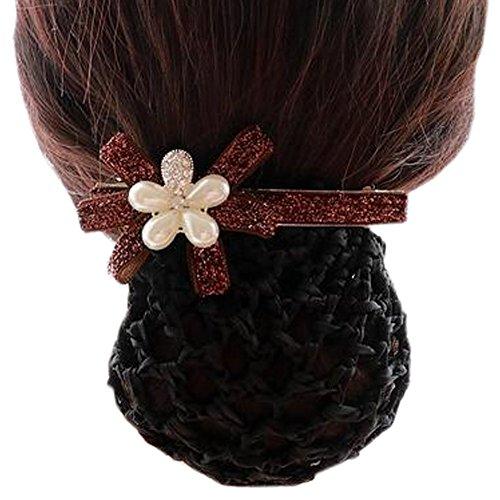 Ladies Bowtie Mesh Elastique Bun Couverture Hairnets Hair Snood, Silver Flower Café Rouge, Rough Mesh