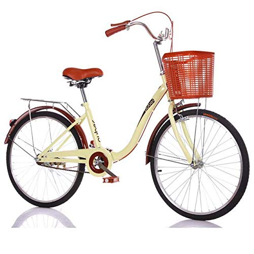 Bicicleta de la Bici Adulta de Peso Ligero con la Parte Posterior Trasera y Cesta para la Escuela de la Ciudad de Montar a Caballo y los desplazamientos, de 24 Pulgadas Ruedas,Amarillo