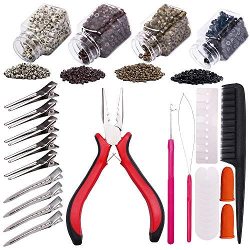 YMHPRIDE Kit de herramientas de extensión de cabello,1000 piezas de microanillos con revestimiento de silicona(4 color),alicates,aguja,herramienta de bucle,protector térmico,clips de acero inoxidable