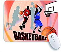 Mabby ゲームオフィスのマウスパッド,Basketball Action Players on Abstract Background Classical Poster Style Print,Non-Slip Rubber Base Mousepad for Laptop Computer PC Office