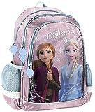 Disney Frozen - Die Eiskönigin ELSA Anna Olaf Rucksack Kinderrucksack (DFV) mit Hauptfach und Nebenfach Getränkenetz, 39x38x20 cm, pink/lila