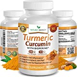 ★ EXTRA STRENGTH Turmeric Curcumin with BioPerine Black Pepper 100% Natural Joint Pain Relief Supplement For Inflammation 90 Tumeric Extract Pills Immune Boost and Best Root Powder Capsules