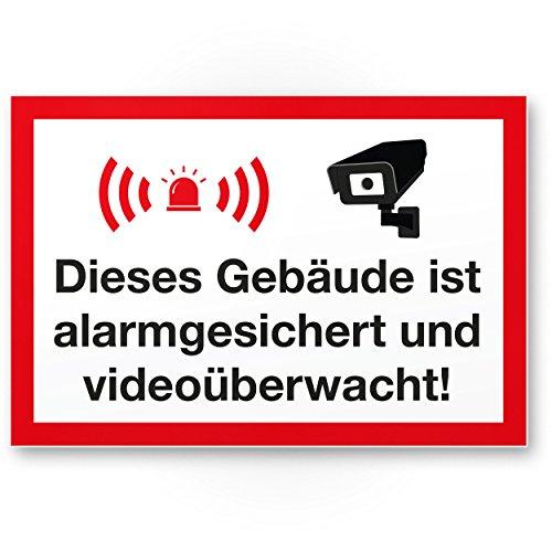 Komma Security Gebäude Alarmgesichert Videoüberwacht Kunststoff Schild - Achtung Vorsicht Videoüberwachung - Hinweis Hinweisschild Videoüberwacht - Warnhinweis