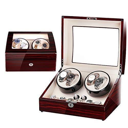 WECDS-E Uhrendisplay Aufbewahrungsbox,Schmucksammlung Etui Organizer Halter Holz Doppel Automatik Uhrenbeweger für Manschettenknöpfe,Ringe,Pins Abschließbar