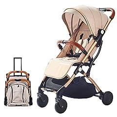 SONARIN Lätt barnvagn,kompakt resa buggy,en-handed vikbar,fem punkt rem,idealisk för flygplan(Khaki)