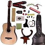 (Blues)アコースティックギター フォークギタータイプ F-301M 初心者入門チューナーピックセット16点セット 10色 が気軽に入門練習をする (ナチュラル)