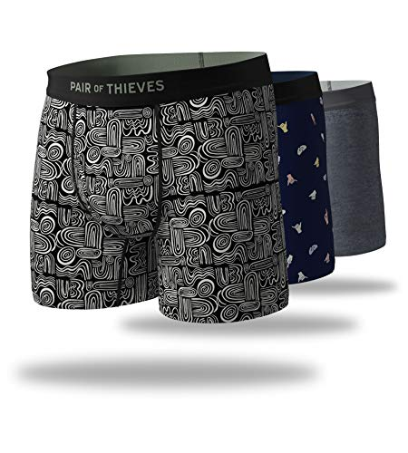 Pair of Thieves Men's 3 Pack Mega Soft Boxer Briefs, Oh Boy! (Black/Navy), X-Large