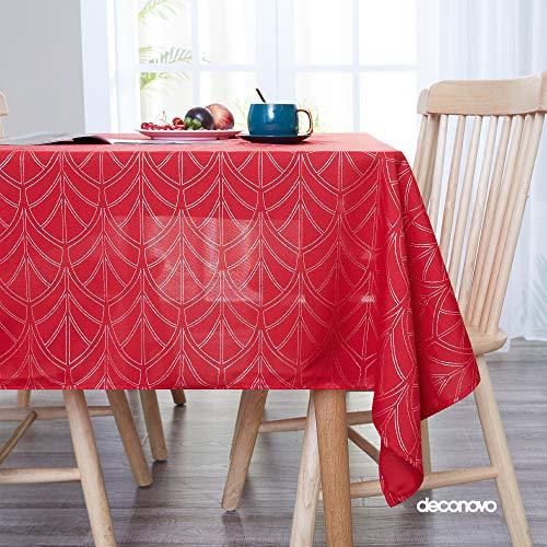 Deconovo Waterdicht tafelkleed met folie- en gouddruk Leave Texture Patroon 54x78in,54x108in,52x70in,52x90in