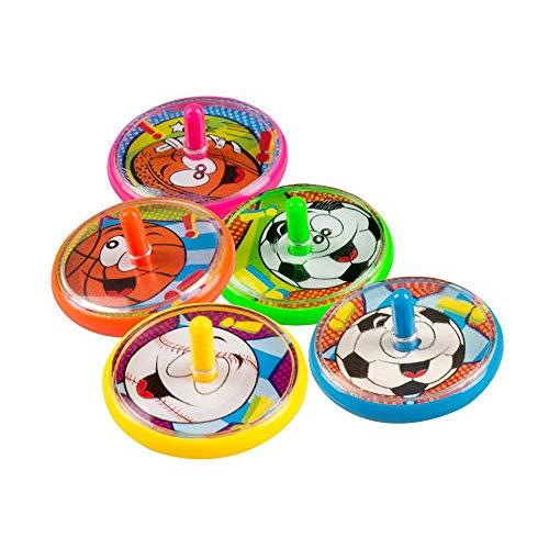 Generique - 5 Toupies piñatas colorées Sport 4 cm