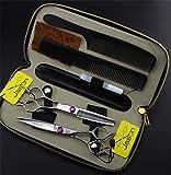 Corte de Pelo Tijeras Tijeras Kit, 440C agudo de acero inoxidable de 5,5 tijeras de peluquería Set, el adelgazamiento y tijeras rectas herramientas, peluquero profesional salón principal Tijeras Kit