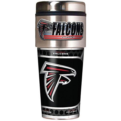 NFL Atlanta Falcons Metallic Travel Tumbler, Stainless Steel and Black Vinyl, 16-Ounce