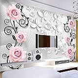 WPFZH 3D Mural Murales modernos de Papel tapiz fotográfico minimalista para sala de Estar Papel de Mural de pared rosa tridimensional -150x200cm