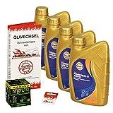 Gulf 10W-40 Öl + HiFlo Ölfilter für Yamaha YZF-R1 /SP, 02-06, RN09 RN12 - Ölwechselset inkl. Motoröl, Racing Filter, Dichtring