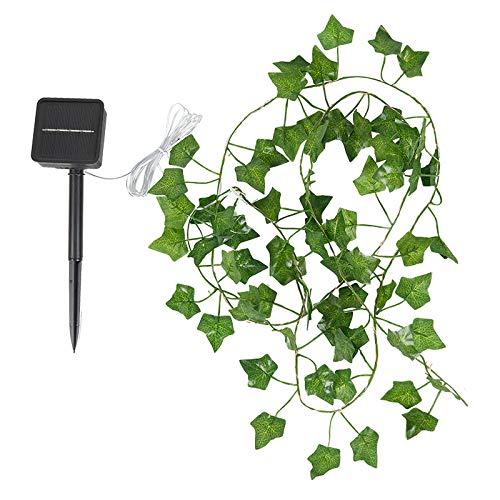UTDKLPBXAQ 50/100LED String Lights Artificial Ivy Fake Garland Green Leaf Plants Vine Solar Fairy String Lights Hanging for Wedding Party Home Wall Decor (Boston Ivy Leaves)