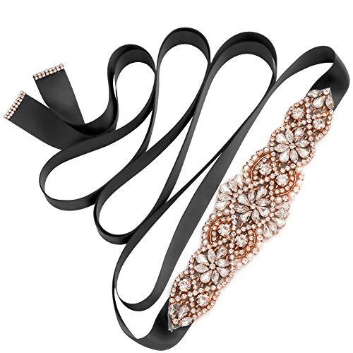 Yanstar Rose Gold Wedding Belt Bridal Sash Belt With Rhinestone Crystal Beaded Detail Black Sash For Wedding Dress