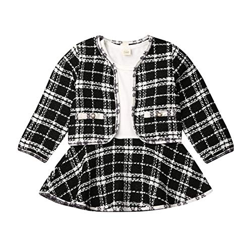 Toddler Baby Girl Plaid Skirt Set Long Sleeve Jacket Coat Tops Party Dress Tutu Skirt Fall Outfit Clothes (Black, 2-3T)