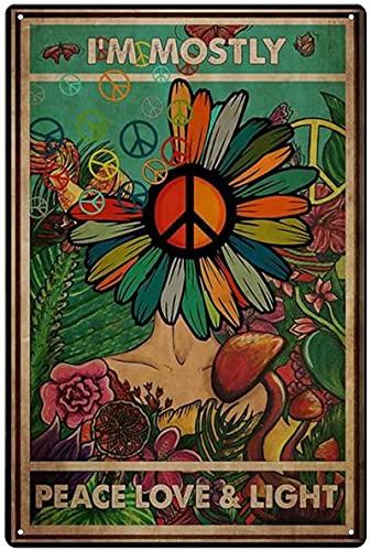 DJNGN I M Most Peace Love Light Wall Metal Cartel de chapa Cerveza Metal Retro Cartel de chapa Retro Decoración de pared Arte Divertido Retro Vintage Sign 8x12 pulgadas