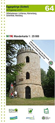 Eggegebirge Süd 1:25 000: Topographische Wanderkarte mit Eggeweg und E1. Willebadessen, Lichtenau, Kleinenberg, Scherfede, Marsberg (Geo Map)