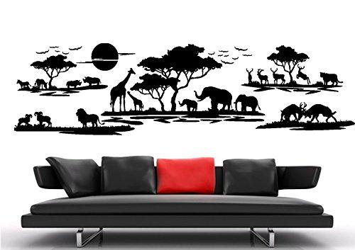 Wandtattoo wandaufkleber Aufkleber Wandsticker wall sticker Wohnzimmer Schlafzimmer Kinderzimmer Kueche kuche 30 Farben zur Wahl Afrika Landschaft Tier Baum waf07(Printed Sticker,ca.20 x 8cm)