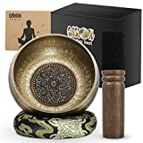 Tibetan Singing Bowl Set, Antique Bronze Mantra Engravings Singing Bowl Meditation Sound Bowl Set With Dual Surface Mallet & Silk Cushion, Promotes Peace, Chakra Healing & Mindfulness (5.0', Black)