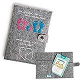 Mutterpasshülle aus Filz mit viel Fächer für Ultraschallbilder und Versichertenkarte von Homery, passend für den deutschen Mutterpass aus Filz - das perfekte Geschenk zur Schwangerschaft