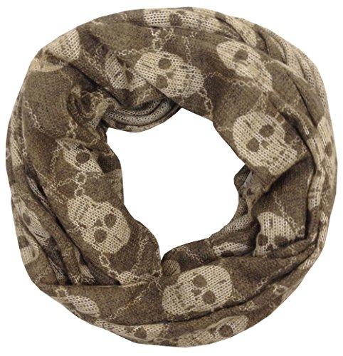 Vexcon - Fular - para mujer marrón Skull Pattern, Colour Brown/Beige talla única