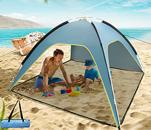 83'' x 83' Large Beach Tent with Removable Floor, 4 Person Sun Shelter Sunshade Canopy Easy Setup UPF 50+ Coating Anti-UV Portable Sunshade for Beach Vacation, Picnic, Backyard, Family, Adults