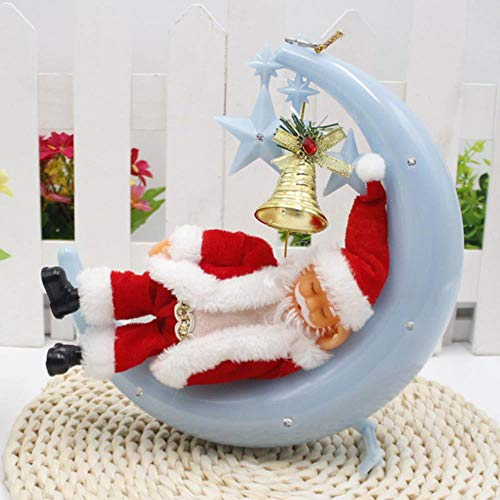 VHJ Santa Claus decorations storefront decoration pendant moon stars music old man bell holiday ornaments,blue,22x24cm