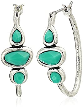 Lucky Brand Turquoise Hoop Earrings Silver One Size