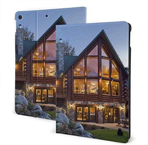 Cool Reptile Gecko Lizard Case for New Ipad 7th Generation 10.2 Inch 2019 Multi-Angle Viewing Folio Smart Stand Cover Auto Wake/Sleep for Ipad 10.2' Tablet-Beautiful Log Cabin-One Size