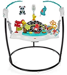 Seat spins for 360 degrees of play Music, lights, and sounds reward and encourage every bounce Easily adjusts to 3 different heights as your baby grows Colorful toys include a light up chameleon, bat at panda and elephant, lion slider, alligator flip...