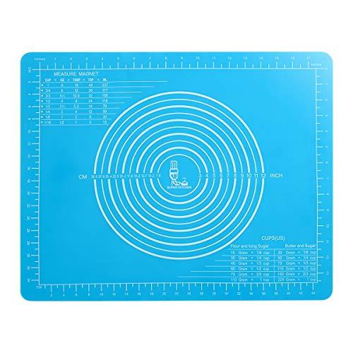 Super Kitchen Tapis à Pâtisserie en Silicone Antidérapant avec Mesures 50×40cm pour Tapis de Cuisson en Silicone,Tapis de pâte à rouler,Tapis de Pétrissage/de Placement,de fondant, Set de table(Bleu)
