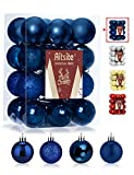Aitsite 24ct Christmas Tree Ornaments Set 1.57 inches Mini Shatterproof Holiday Ornaments Balls for Christmas Decorations, Navy Blue