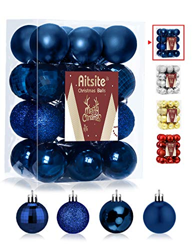 Aitsite 24ct Christmas Tree Ornaments Set 1.57 inches Mini Shatterproof