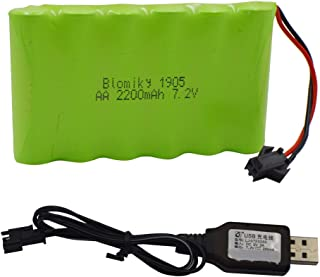 Blomiky 7.2V 2200mAh Ni-MH Rechargeable AA Battery Pack with SM-2P Black Plug and USB Charger Cable for 15 Channel 2.4G Huina 1550 550 RC Excavator 7.2V NiMH