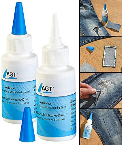 AGT Stoffkleber: 2er-Set Textilkleber, schnell trocknend und hitzebeständig, 2x 60 ml (Kleber für Stoff)