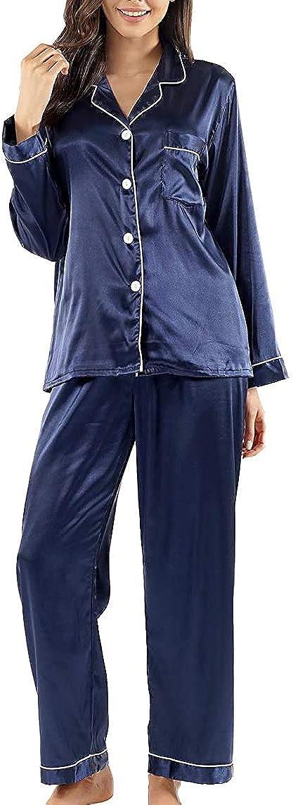 Women's Pajamas Set Long Sleeve Sleepwear Pjs Nightwear Soft Lounge Sets (L) Large Navy