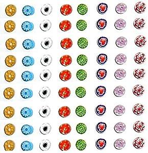 10 gramos de murrinas de Murano 6/7 mm (aproximadamente 25/30 unidades) mil flores cristal muchos colores rojo azul blanco violeta etc piezas de cristal para Mosaico Hobby joyas + 1 llavero amuletos