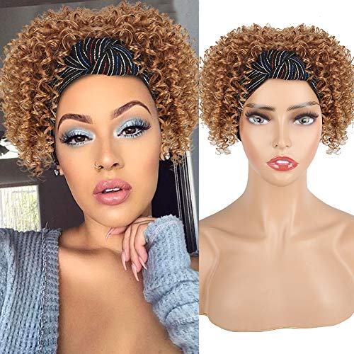KRSI Afro Puff with Headwrap Synthetic 2 in 1 Short Afro Kinky Curly Full Wig Updo Head-Wrap Wig with Turban Curly Wave Drawstring Ponytail Headband Wig for Black Women (4/630)