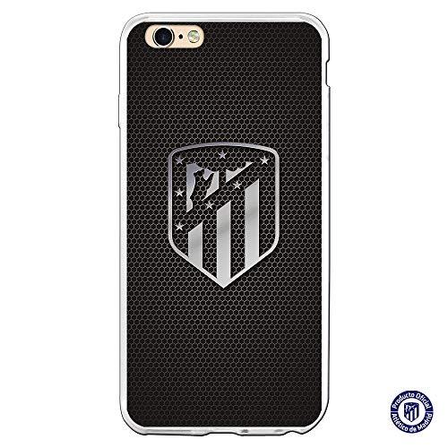 Atlético de Madrid Funda para iPhone 6 Plus y iPhone 6S Plus Oficial Escudo Plata- Funda móvil de Silicona Flexible y Resistente para Proteger tu móvil