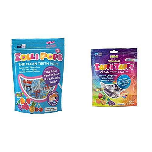 Zollipops Clean Teeth Lollipops 52 Ounces and Cleen Teeth Taffy Natural Fruit 3 Ounces