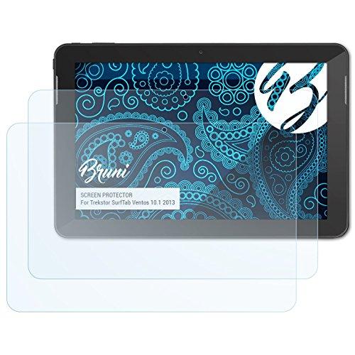 Bruni Schutzfolie kompatibel mit Trekstor SurfTab Ventos 10.1 2013 Folie, glasklare Bildschirmschutzfolie (2X)