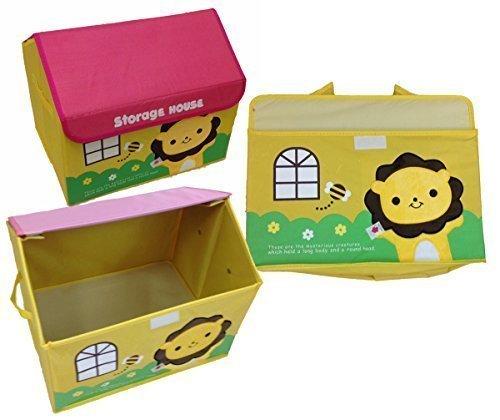 GMMH Coffre à jouets Avec Broderie Maison Lion Avec Broderie Boîte de conservation coffre à jouets Bac de rangement Meubles pour enfants