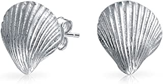 Nautical Tropical Beach Cockle Seashell Stud Earrings For Women Sea Life 14K Gold Plated Silver 925 Sterling Silver