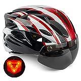 Casco de Bicicleta,KINGLEAD Casco CE con Visera Solar Extraíble, Casco Bicicleta para Adultos Casco de Ciclismo de...