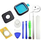 TOKA-VERSAND - Cubierta de cristal para cámara (cristal auténtico) con marco y adhesivo [junta] y 8 herramientas [magnéticas] 11 en 1