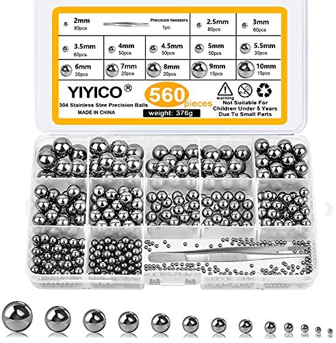 YIYICO Bolas de Acero Bolas de Rodamiento 560 Uds Bola de Acero del Transporte de Cromo de Precisión Sólida Juego de Surtido de 2mm a 10mm Utilizado en Bicicleta